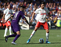Calcio, Serie A: Fiorentina - Juventus, stadio Artemio Franchi Firenze 14 settembre 2019<br /> Juventus' Cristiano Ronaldo (r) in action with Fiorentina's Erick Pulgar (l) during the Italian Serie A football match between Fiorentina and Juventus at Florence's Artemio Franchi stadium, September 14, 2019. <br /> UPDATE IMAGES PRESS/Isabella Bonotto