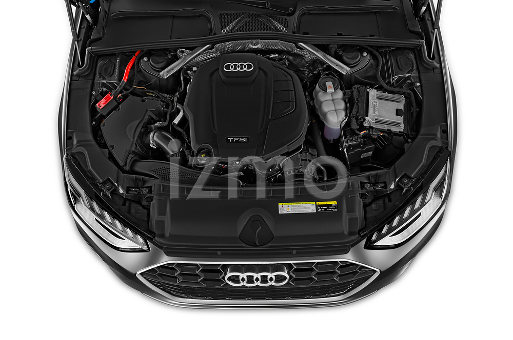 Car stock 2020 Audi A4 S-Line 5 Door Wagon engine high angle detail view