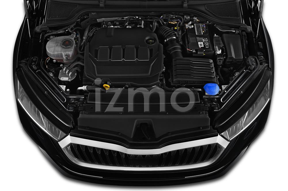 Car Stock 2020 Skoda Octavia Style 5 Door Hatchback Engine  high angle detail view