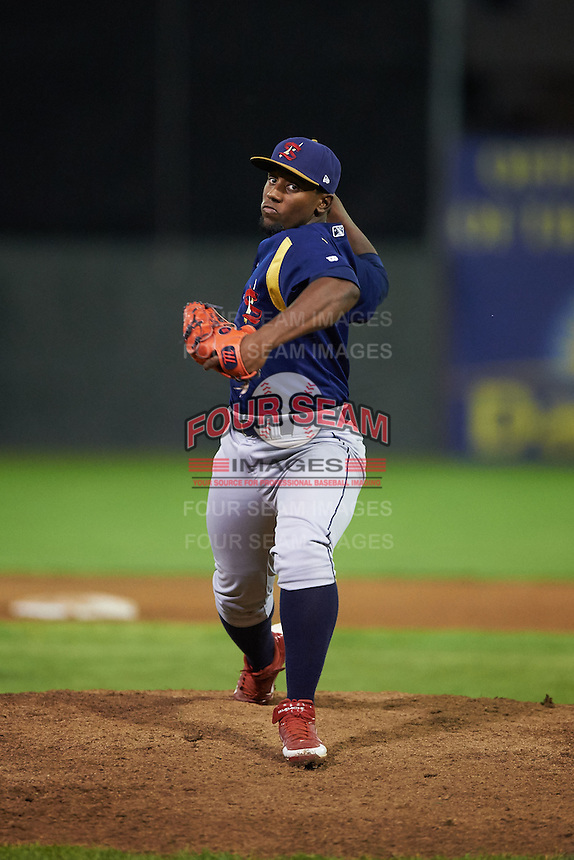 State College Spikes pitcher Steven De La Cruz (53) delivers a pitch during a game against the Batavia Muckdogs August 23, 2015 at Dwyer Stadium in Batavia, New York.  State College defeated Batavia 5-3.  (Mike Janes/Four Seam Images)