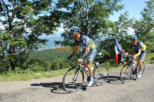 Karsten Kroon (NED) and Nicki Sorensen (DEN) Saxo BAnk-Tinkoff Bank in action on Stage 10 Macon - Bellegarde-sur-Valserine during the 99th edition of the Tour de France, 13th July 2012 (Photo by Thomas van Bracht/NEWSFILE)