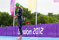 04 AUG 2012 - LONDON, GBR - Helen Jenkins (GBR) of Great Britain prepares for the start of the women's London 2012 Olympic Games Triathlon in Hyde Park in London, Great Britain .(PHOTO (C) 2012 NIGEL FARROW)
