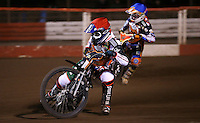 Connor Coles (red) and Connor Mountain (blue) of Mildenhall Fen Tigers - National League Pairs, The Rico Spring Classic at the Arena Essex Raceway, Pufleet - 20/03/15 - MANDATORY CREDIT: Rob Newell/TGSPHOTO - Self billing applies where appropriate - 0845 094 6026 - contact@tgsphoto.co.uk - NO UNPAID USE