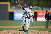 Coastal Carolina Chanticleers relief pitcher Shaddon Peavyhouse (13) delivers a pitch to the plate against the Duke Blue Devils at Segra Stadium on November 2, 2019 in Fayetteville, North Carolina. (Brian Westerholt/Four Seam Images)