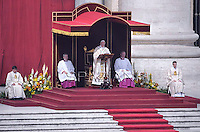Pope Francis  the Canonization mass of Italian Antonio Primaldo and his companions, Colombian Laura Montoya Upegui and Mexican Maria Guadalupe Garcia Zavala in St.Peter's square at the Vatican  on May 12, 2013