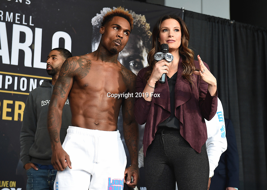 """ONTARIO - DECEMBER 20:  Jermell Charlo and Heidi Androl at  the weigh in for the December 21 fight on the Fox Sports PBC """"Harrison v Charlo"""" on December 20, 2019 in Ontario, California. (Photo by Frank Micelotta/Fox Sports/PictureGroup)"""