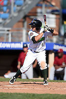 Jamestown Jammers second baseman Erik Lunde (6) at bat during a game against the Mahoning Valley Scrappers on June 15, 2014 at Russell Diethrick Park in Jamestown, New York.  Jamestown defeated Mahoning Valley 9-4.  (Mike Janes/Four Seam Images)