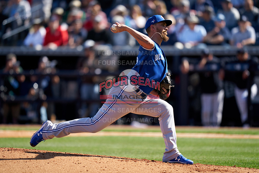 Toronto Blue Jays pitcher A.J. Cole (36) during a Spring Training game against the New York Yankees on February 22, 2020 at the George M. Steinbrenner Field in Tampa, Florida.  (Mike Janes/Four Seam Images)