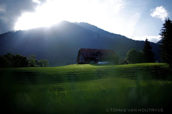 Sunshine on a farmhouse near Sorenberg, Switzerland on Aug. 10, 2011.
