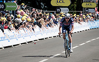 Mathieu Van der Poel (NED/Alpecin-Fenix) attacking on the first ascent of the Mûr-de-Bretagne.<br /> <br /> Stage 2 from Perros-Guirec to Mûr-de-Bretagne, Guerlédan (184km)<br /> 108th Tour de France 2021 (2.UWT)<br /> <br /> ©kramon