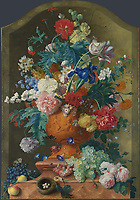 Full title: Flowers in a Terracotta Vase<br /> Artist: Jan van Huysum<br /> Date made: 1736-7<br /> Source: http://www.nationalgalleryimages.co.uk/<br /> Contact: picture.library@nationalgallery.co.uk<br /> <br /> Copyright © The National Gallery, London