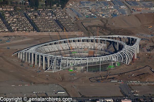 aerial photograph of the SoFi Stadium under construction, Inglewood, Los Angeles County, California, 2019