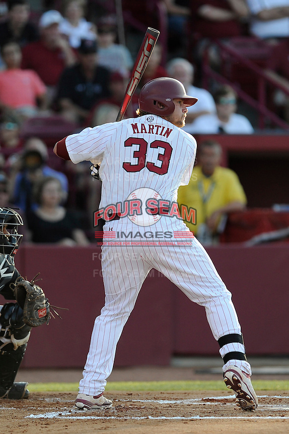 First baseman Kyle Martin (33) of the South Carolina Gamecocks bats in an NCAA Division I Baseball Regional Tournament game against the Maryland Terrapins on Sunday, June 1, 2014, at Carolina Stadium in Columbia, South Carolina. Maryland won, 10-1, to win the tournament. (Tom Priddy/Four Seam Images)