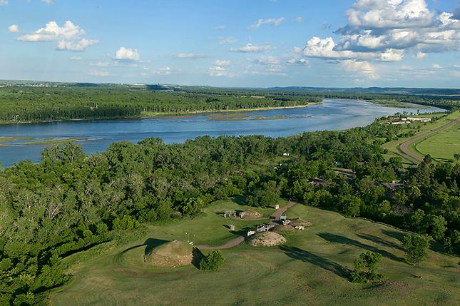 Mandan village along Missouri River