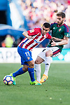 Angel Correa of Atletico de Madrid (L) in action against Fausto Tienza Nunez of Osasuna (R) during the La Liga match between Atletico de Madrid vs Osasuna at the Estadio Vicente Calderon on 15 April 2017 in Madrid, Spain. Photo by Diego Gonzalez Souto / Power Sport Images