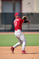 Philadelphia Phillies third baseman Chris Cornelius (17) throws to first base during an Extended Spring Training game against the Toronto Blue Jays on June 12, 2021 at the Carpenter Complex in Clearwater, Florida. (Mike Janes/Four Seam Images)