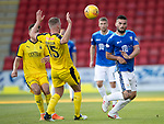 St Johnstone v Falkirk…24.07.18…  McDiarmid Park    Betfred Cup<br />Tony Watt and Scott Harrison<br />Picture by Graeme Hart. <br />Copyright Perthshire Picture Agency<br />Tel: 01738 623350  Mobile: 07990 594431