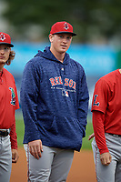 Lowell Spinners Jay Groome (48) during introductions before a NY-Penn League Semifinal Playoff game against the Batavia Muckdogs on September 4, 2019 at Dwyer Stadium in Batavia, New York.  Batavia defeated Lowell 4-1.  (Mike Janes/Four Seam Images)
