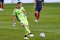 CHICAGO, UNITED STATES - AUGUST 25: Bobby Shuttleworth #1 of Chicago Fire kicks the ball during a game between FC Cincinnati and Chicago Fire at Soldier Field on August 25, 2020 in Chicago, Illinois.