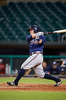 Mississippi Braves catcher Kade Scivicque (22) follows through on a swing during a game against the Montgomery Biscuits on April 24, 2017 at Montgomery Riverwalk Stadium in Montgomery, Alabama.  Montgomery defeated Mississippi 3-2.  (Mike Janes/Four Seam Images)