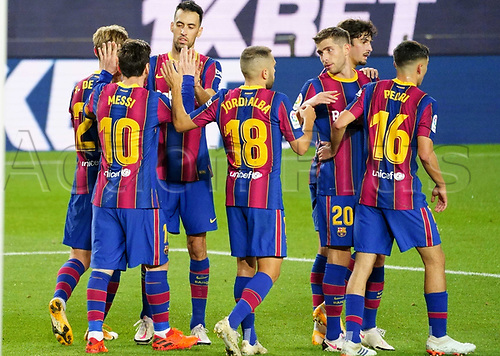 7th November 2020; Camp Nou, Barcelona, Catalonia, Spain; La Liga Football, Barcelona versus Real Betis;  Leo Messi celebrates with team mates after scoring for 4-2 in the 82nd minute