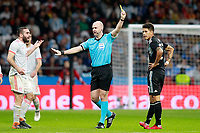 English referee Anthony Taylor show yellow card to Argentina's Maximiliano Meza (r) in presence of Spain's Daniel Carvajal during international friendly match. March 27,2018.(ALTERPHOTOS/Acero) /NortePhoto.com NORTEPHOTOMEXICO