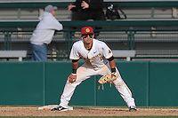 Jeremy Martinez (2) of the Southern California Trojans in the field during a game against the Oakland Grizzlies at Dedeaux Field on February 21, 2015 in Los Angeles, California. Southern California defeated Oakland, 11-1. (Larry Goren/Four Seam Images)