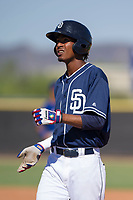 San Diego Padres outfielder Angel Santos (17) during an Instructional League game against the Texas Rangers on September 20, 2017 at Peoria Sports Complex in Peoria, Arizona. (Zachary Lucy/Four Seam Images)