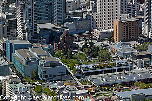 aerial photograph of Yerba Buena Gardens, the Metreon and the Moscone Convention Center, SOMA San Francisco, California