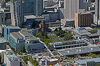 aerial photograph of Yerba Buena Gardens, the Metreon and the Moscone Convention Center, SOMA San Francisco, California