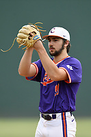 Freshman RHP Spencer Strider (99) of the Clemson Tigers delivers a pitch in the third intrasquad Orange-Purple scrimmage on Sunday, October 29, 2017, at Fluor Field at the West End in Greenville, South Carolina. (Tom Priddy/Four Seam Images)