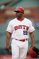 Louisville Bats coach Darryl Brinkley (22) during a game against the Columbus Clippers on May 1, 2017 at Louisville Slugger Field in Louisville, Kentucky.  Columbus defeated Louisville 6-1  (Mike Janes/Four Seam Images)