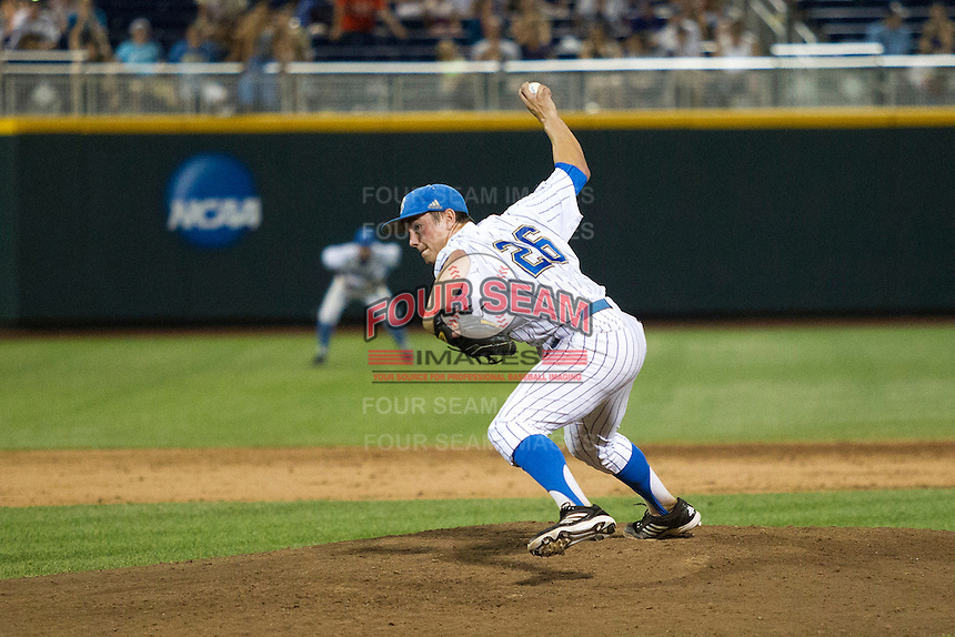 UCLA pitcher David Berg (26) delivers a pitch to the plate during Game 12 of the 2013 Men's College World Series against the North Carolina Tar Heels on June 21, 2013 at TD Ameritrade Park in Omaha, Nebraska. The Bruins defeated the Tar Heels 4-1, to reach the CWS Final and eliminate North Carolina from the tournament. (Andrew Woolley/Four Seam Images)
