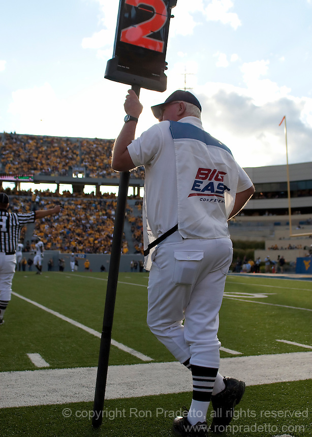 September 4, 2010: Box man member of chain gang. The West Virginia Mountaineers defeated the Coastal Carolina Chanticleers 31-0 on September 4, 2010 at Mountaineer Field, Morgantown, West Virginia.