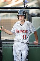 Kannapolis Intimidators bat boy Allan Westerholt during the game against the Greensboro Grasshoppers at Intimidators Stadium on July 17, 2016 in Greensboro, North Carolina.  The Grasshoppers defeated the Intimidators 5-4 in game two of a double-header.  (Brian Westerholt/Four Seam Images)