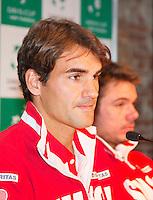13-09-12, Netherlands, Amsterdam, Tennis, Daviscup Netherlands-Swiss, Draw  Roger Federer and Stanislas Wawrinka(R)