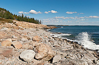 Rock beach, Schoodic,.Winter Harbor, ME, Maine, USA