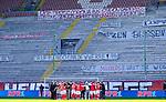 Fussball - 3.Bundesliga - Saison 2020/21<br /> Kaiserslautern -  Fritz-Walter-Stadion 03.04.2021<br /> 1. FC Kaiserslautern (fck)  - FC Halle (hal) 3:1<br /> Die Lauterer nach Spielende vor der Westkurve mit den Transparenten der Fans<br /> <br /> Foto © PIX-Sportfotos *** Foto ist honorarpflichtig! *** Auf Anfrage in hoeherer Qualitaet/Aufloesung. Belegexemplar erbeten. Veroeffentlichung ausschliesslich fuer journalistisch-publizistische Zwecke. For editorial use only. DFL regulations prohibit any use of photographs as image sequences and/or quasi-video.