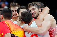 Spain's Felipe Reyes and Pau Gasol celebrate after defeating France in European championship semi-final basketball match  on September 17, 2015 in Lille, France  (credit image & photo: Pedja Milosavljevic / STARSPORT)