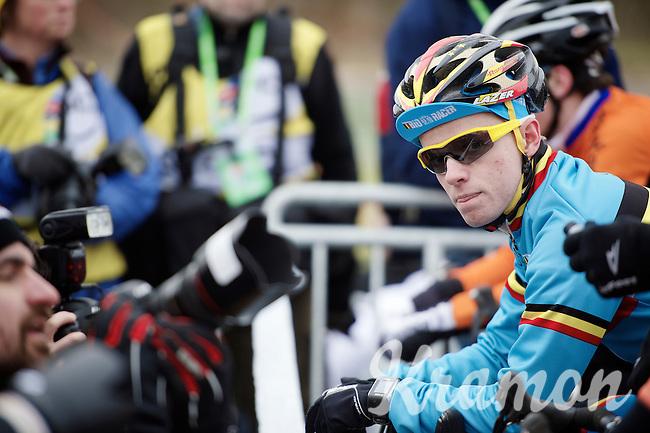 A nervous favorite Eli Iserbyt (BEL) on the start line<br /> <br /> Men Juniors Race<br /> <br /> 2015 UCI World Championships Cyclocross <br /> Tabor, Czech Republic