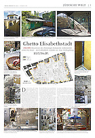 Jüdische Allgemeine (Jewish weekly, Germany) on the 1944 ghetto wall, Budapest, Hungary, 2013.08.15. Photos: Martin Fejer