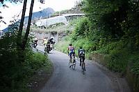 Alberto Contador (ESP/Tinkoff-Saxo) & Ruben Fernandez (ESP/Movistar) up the Passo Del Mortirolo (1854m) on stage 16: Pinzolo - Aprica (174km) of the 2015 Giro d'Italia