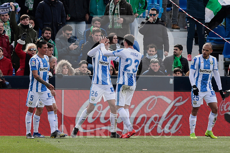 CD Leganes's Youssef En-Nesyri celebrates goal during La Liga match between CD Leganes and Real Betis Balompie at Butarque Stadium in Madrid, Spain. February 10, 2019. (ALTERPHOTOS/A. Perez Meca)