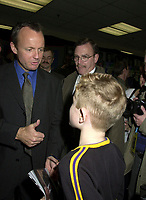 Montreal, November 20th, 2000<br /> The leader of the Canadian Reform Alliance PoliticalParty (CRAPP) and  Canadian Opposition Leader ;  the Honorable Stockwell Day talks with a young  supporter at a rallye.<br />  Day was campaigning in Montreal (Quebec, CANADA) today (November 20th, 2000.<br /> Day is also a close friend of George W. Bush and share is political and religious beliefs.