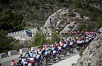 peloton up the first catagorised climb of the day<br /> <br /> Stage 2: Benidorm to Calpe (199.6km)<br /> La Vuelta 2019<br /> <br /> ©kramon