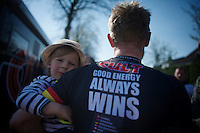 """""""Good energy always wins""""; Linus Gerdemann's (DEU/Cult) son joins daddy in the post-race interviews<br /> <br /> <br /> 50th Amstel Gold Race 2015"""