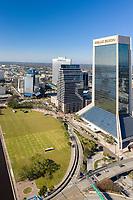 Downtown Jacksonville, FL Skyline  Geenspace Wells Fargo TIAA Bank Bank of America Humana VystarChamber of Commerce Visit Jacksonville  December 2020