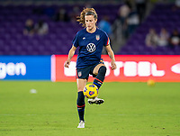 ORLANDO, FL - FEBRUARY 24: Tierna Davidson #12 of the USWNT warms up before a game between Argentina and USWNT at Exploria Stadium on February 24, 2021 in Orlando, Florida.