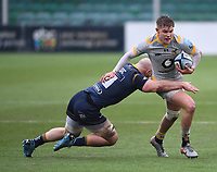 14th February 2021; Sixways Stadium, Worcester, Worcestershire, England; Premiership Rugby, Worcester Warriors versus Wasps; Matt Kvesic of Worcester Warriors tackles Charlie Atkinson of Wasps