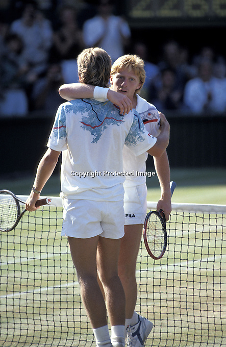 1990, Wimbledon, Final, winner Edberg receives a hug from finalist Boris Becker